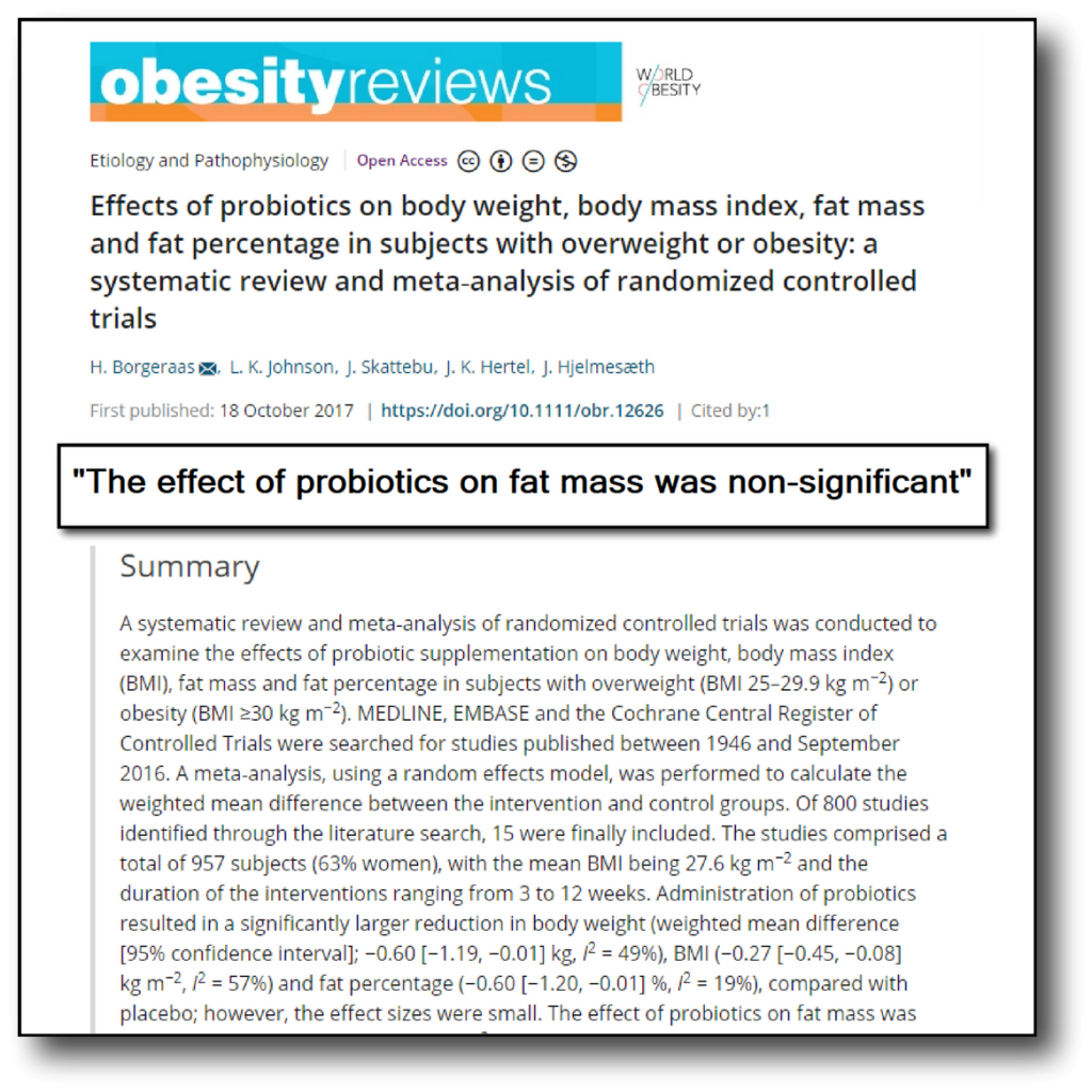 probiotics and fat loss - obesity review
