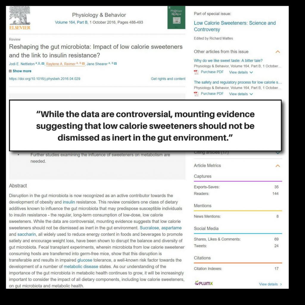 artificial sweeteners increase insulin sensitivity - study 1