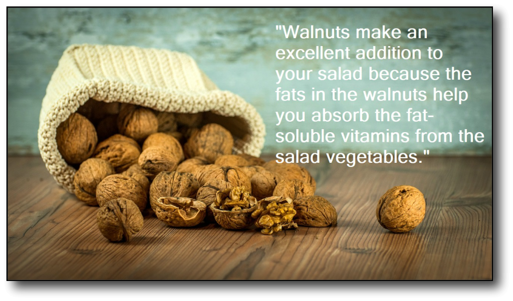 low-carb, high-fat food -walnuts with wording