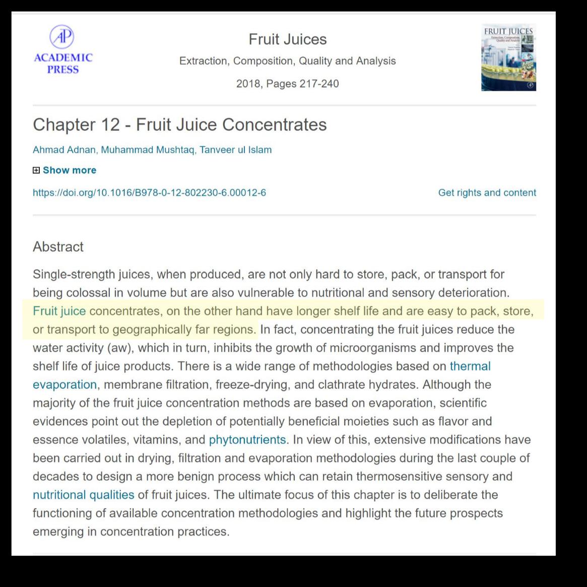 Fruit Juice Concentrate - academic Press