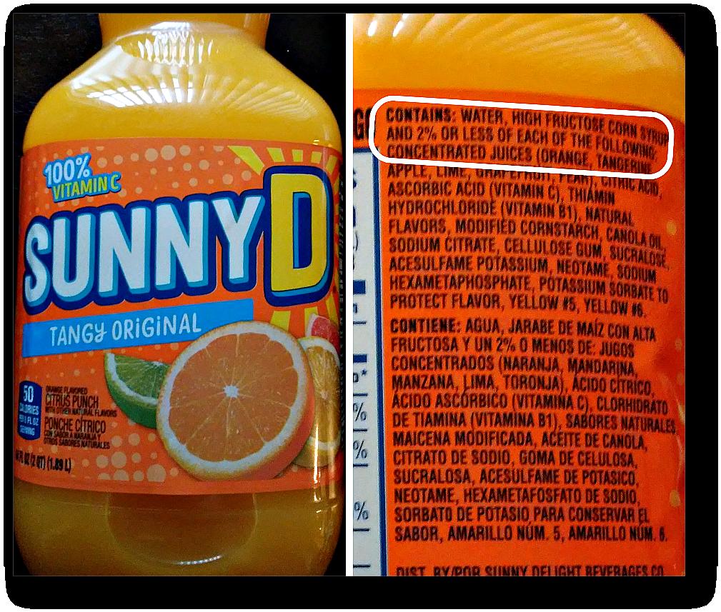 fruit juice concentrate - sunny d 2