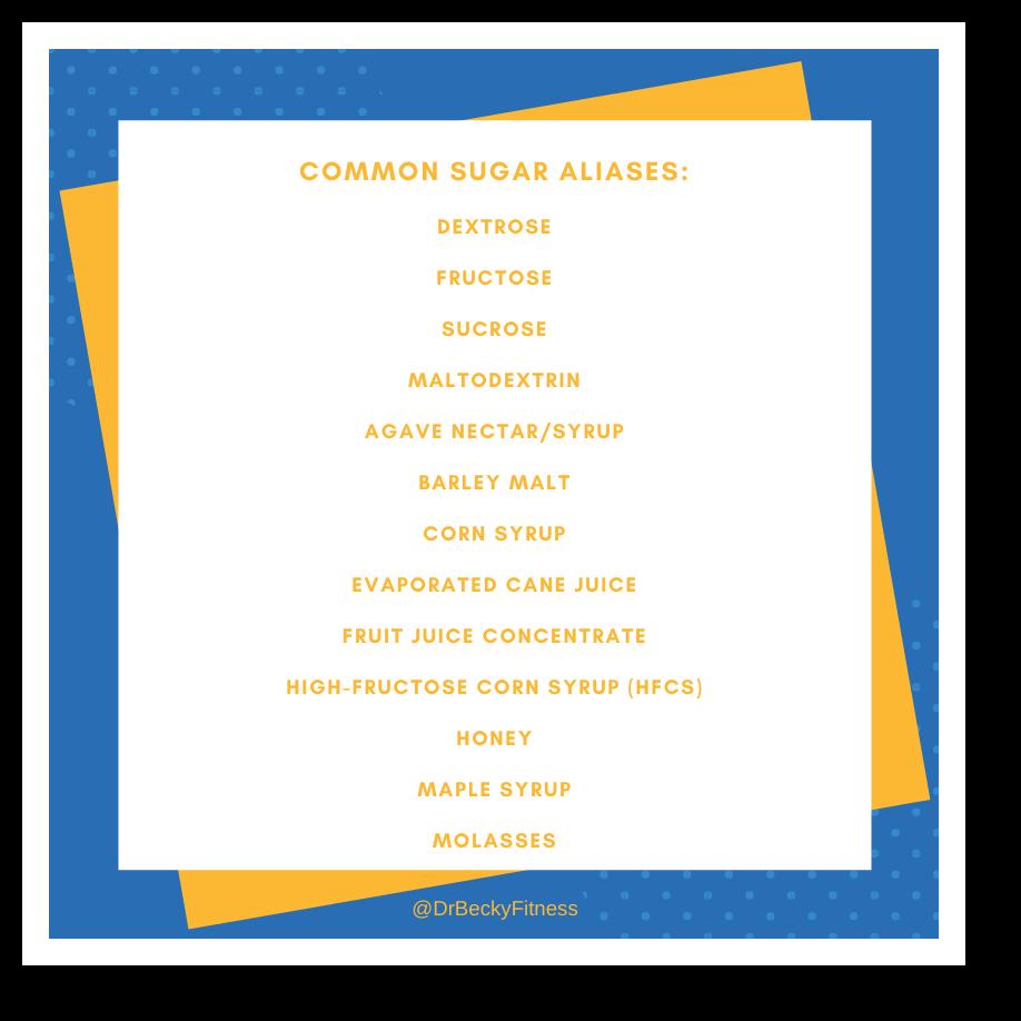 Common alternative names for sugar