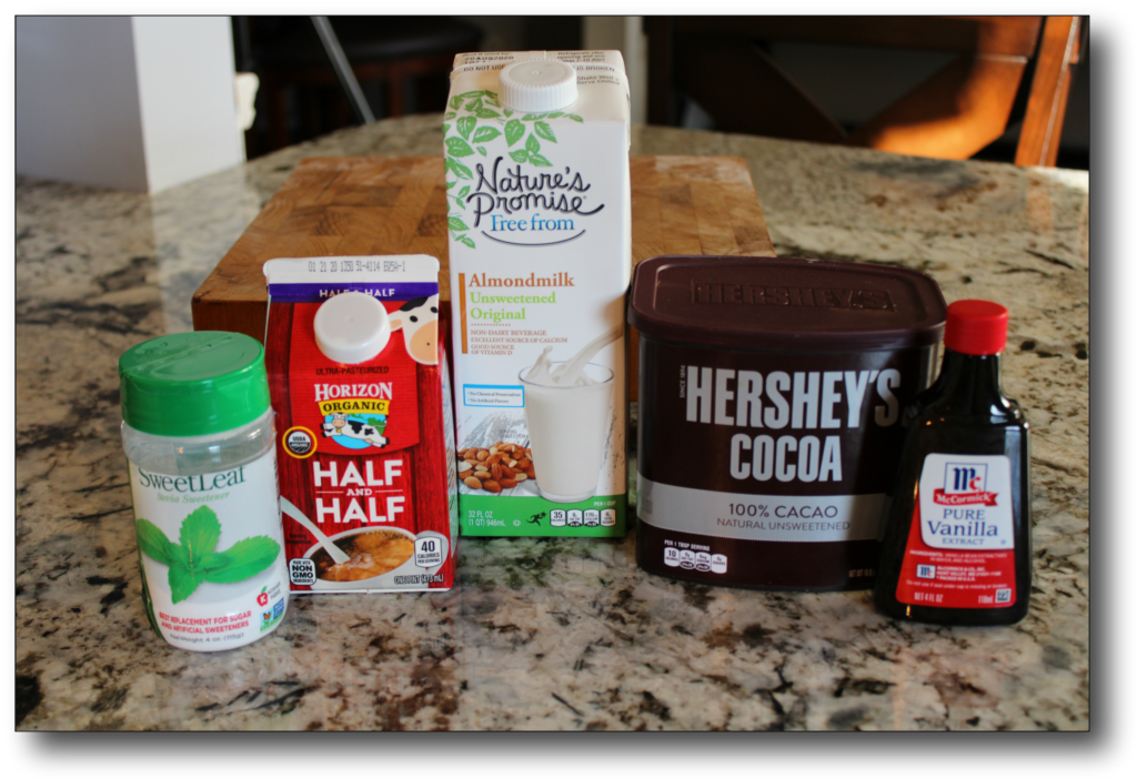 basic ingredients for low-carb hot chocolate recipe