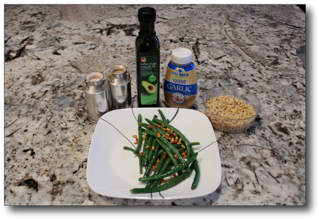 Ingredients for green beans recipe with pine nuts