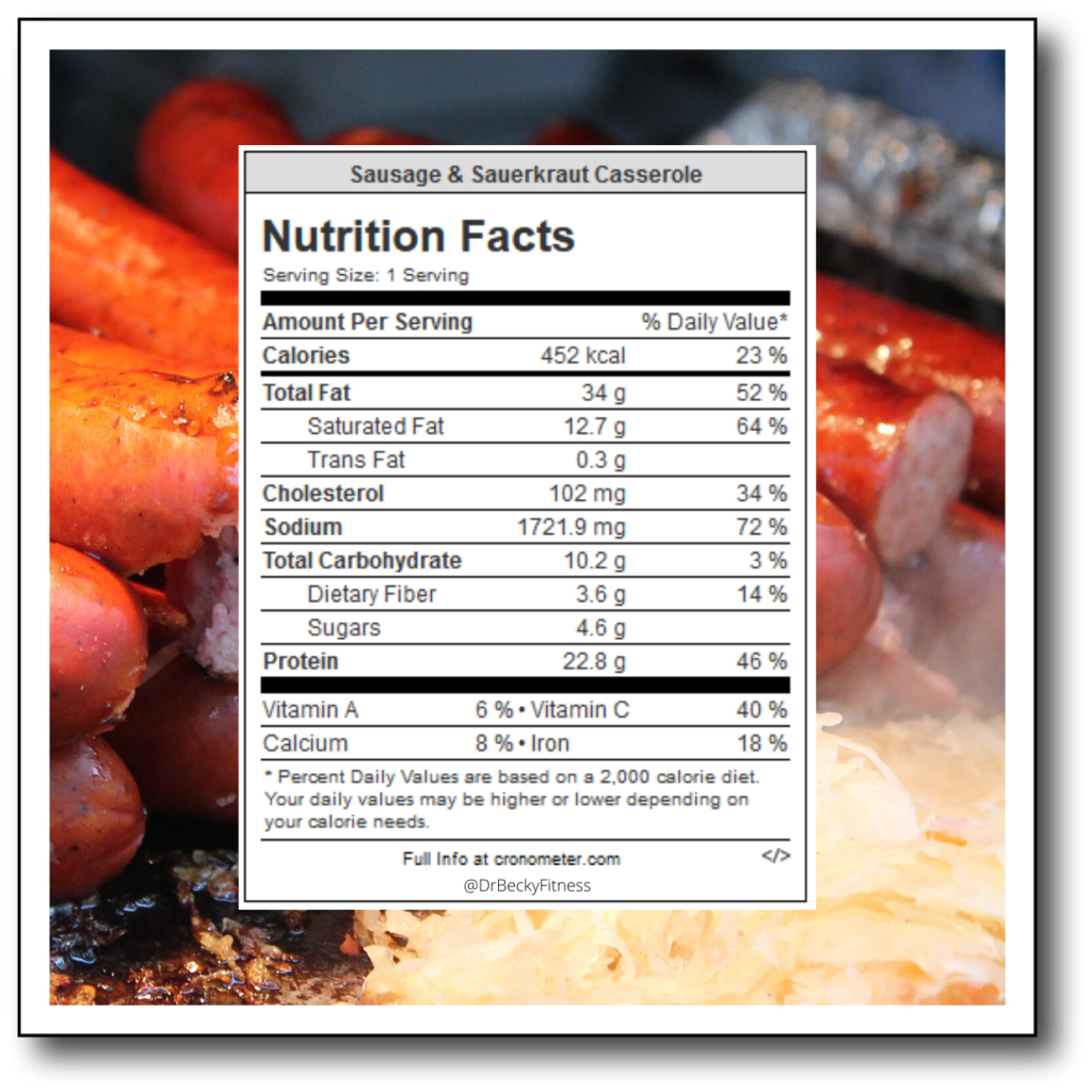 Sausage and Sauerkraut Casserole Nutrition Facts