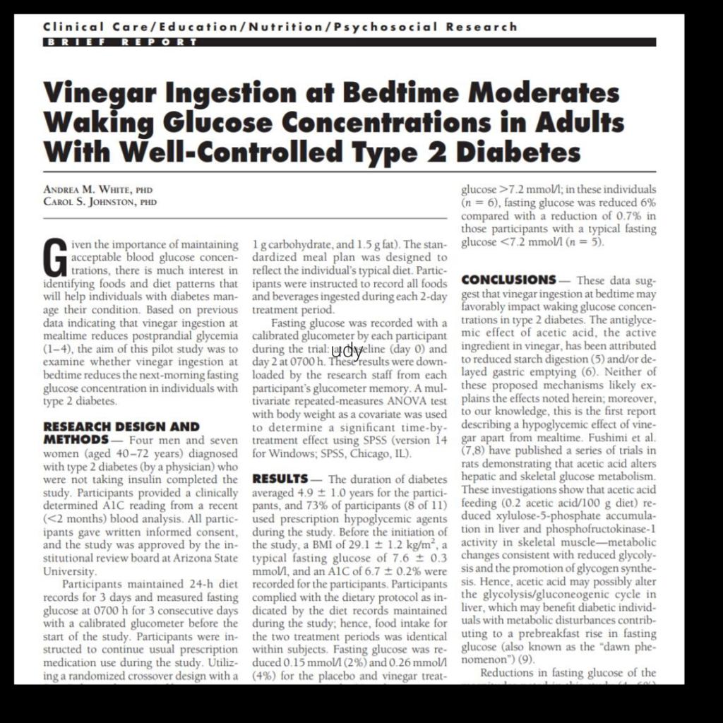apple cider vinegar improves insulin sensitivity - Study 3