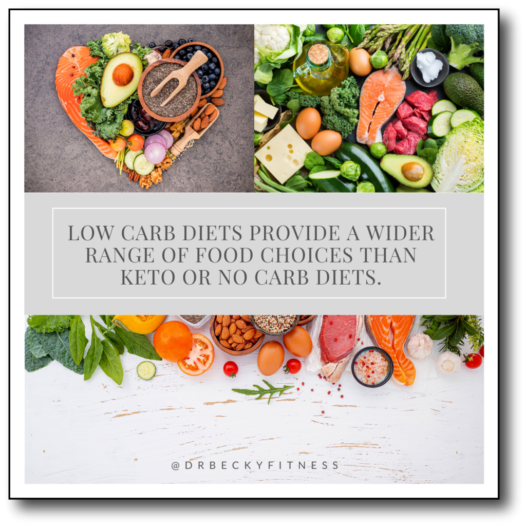 low carb diets provide a wider range of food choices than keto or no carb diets