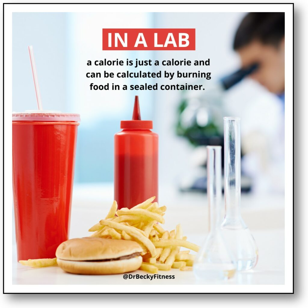 In the lab, a calorie is just a calorie and can be calculated by burning food in a sealed container.